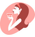 pin up girl drinking cocktail vector image vector image