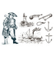 pirate and lighthouse and sea captain marine vector image vector image