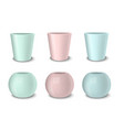 realistic empty flower pot set pastel vector image