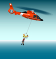 Rescue helicopter flying on a rope vector image vector image