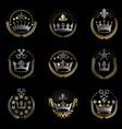 royal crowns emblems set heraldic coat of arms vector image