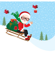 Santa Claus with a bag of gifts on sledge vector image vector image