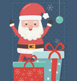 santa hands up with gifts merry christmas card vector image