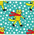 seamless pattern with cat on skates vector image vector image