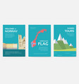 set of norway country ornament travel tour concept vector image vector image