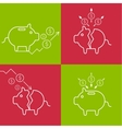 Set of with a piggy bank vector image vector image