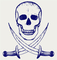 Skull and crossed swords vector image vector image