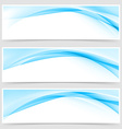 Soft blue wave border template header set vector image vector image