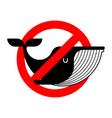 stop whale it is forbidden to underwater animal vector image vector image