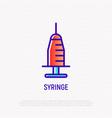 syringe thin line icon modern vector image