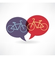 two flat speech bubble icon with bicycles vector image vector image