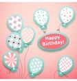 Happy birthday retro postcard with pattern vector image