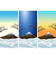 Three scenes of moutains with snowtop