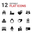 12 wedding filled icons set isolated on white vector image vector image
