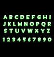 3d green neon alphabet and numbers for ui games vector image vector image