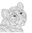 adult coloring bookpage a cute tiger image vector image