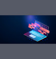 application laptop with business graph vector image vector image