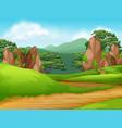 beautiful green nature landscape vector image