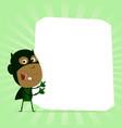 black kid super hero sign vector image