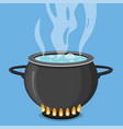 boiling water in black pan cooking concept vector image vector image