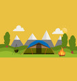 campsite place in forest cartoon vector image vector image