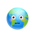 cartoon earth face shocked emotion icon funny vector image