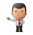 cartoon happy businessman pointing his finger vector image
