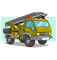 cartoon military army big cargo truck with ladder vector image vector image
