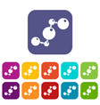 chemical and physical molecules icons set flat vector image vector image