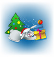 christmas rabbit with gifts vector image vector image