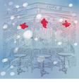 christmas sketch parisian cafe vector image