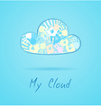 Cloud made from color hands on blue background vector image vector image