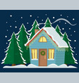 country cottage decorated with christmas garland vector image vector image