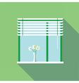 Digital flowers in vase on a window vector image