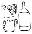doodle drawing for beer and alcohol vector image