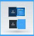 double-sided blue business card template vector image vector image