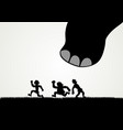 funny cartoon of men fleeing panic from a giant vector image vector image
