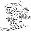 funny girl on ski cartoon coloring book page vector image vector image