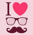 geek glasses print i love sunglasses vector image vector image