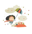 Girl flying with umbrella vector image vector image