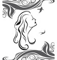 Girl profile on sea background vector image vector image