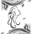 Girl profile on sea background vector image