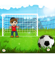 Goalkeeper is waiting for hitting the ball vector image