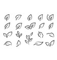 hand drawn black leaf branch icons eco set vector image