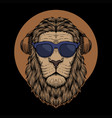 lion head eyeglasses vector image vector image