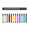 markers pen set varioust color markers vector image