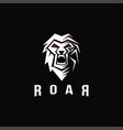 masculine lion screaming logo roar logo vector image