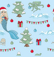 mermaid celebrate pattern seamless vector image