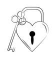 minimalist tattoo boho padlock shaped heart vector image vector image