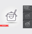 pan with a ladle line icon with editable stroke vector image vector image
